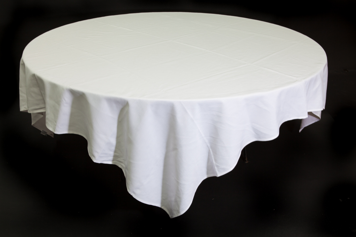 White Tablecloth 1 8m Round Table Celebrate Party Hire