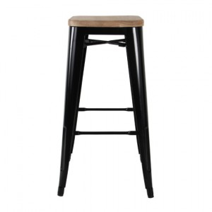 Tollix Bar Stool in Black with timber top