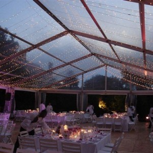 Clear roof marquee with fairy lights