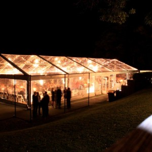 Clear roof marquee at night