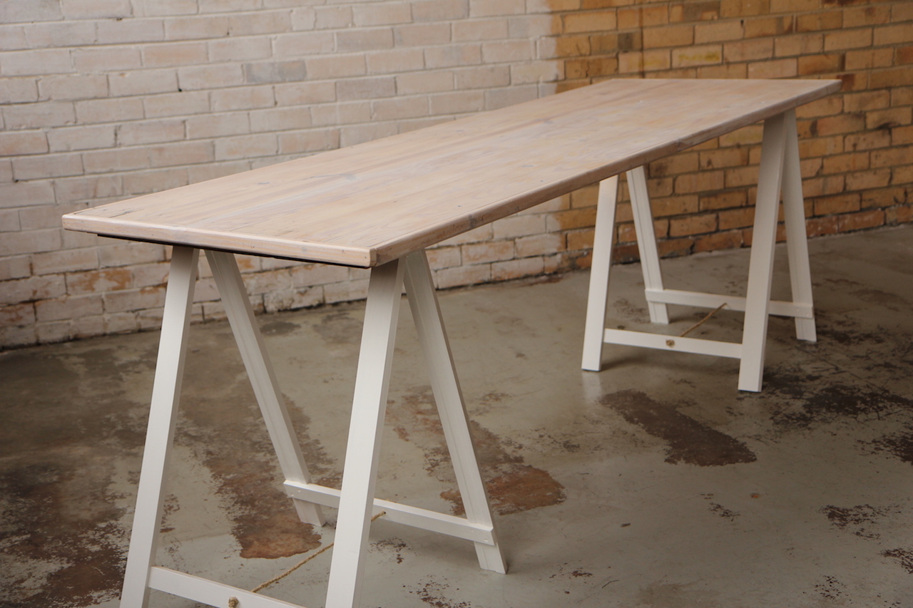 Traditional Trestle White Wash High Bar Celebrate Party